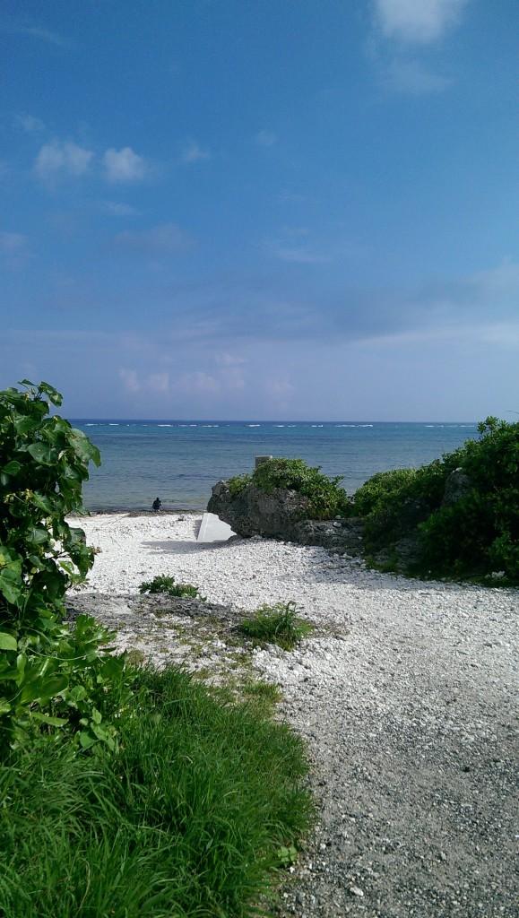 浜に続く道。緑とのコントラストが沖縄らしさを演出しています。