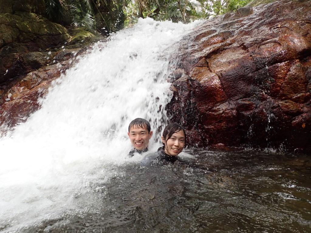 いつもより水かさが多い滝つぼでした